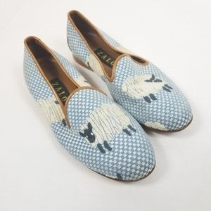 Zalo Women's Blue Flats With Sheep Embroidery  7.5